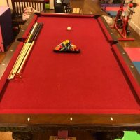 Nearly New Red Felt Pool Table